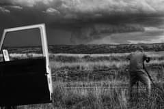 B&w to bring out the contrast of a nice but collapsing wall cloud on the Tex...