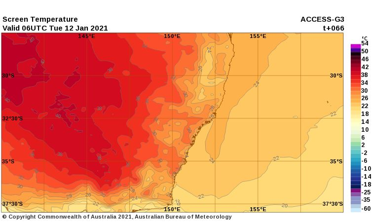 Low intensity heatwave for inland NSW / Victoria - 11 to 14 January 2021