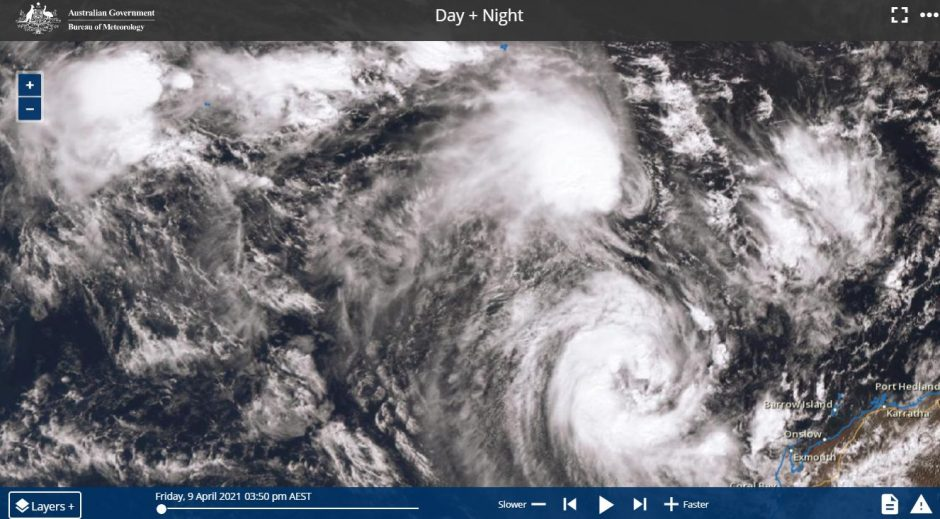 Tropical Cyclones Seroja and Odette - The Fujiwhara Effect - 10/4/2021